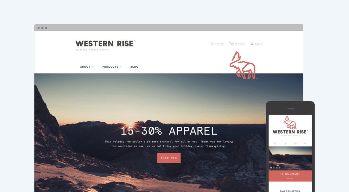 Western Rise homepage on desktop and mobile
