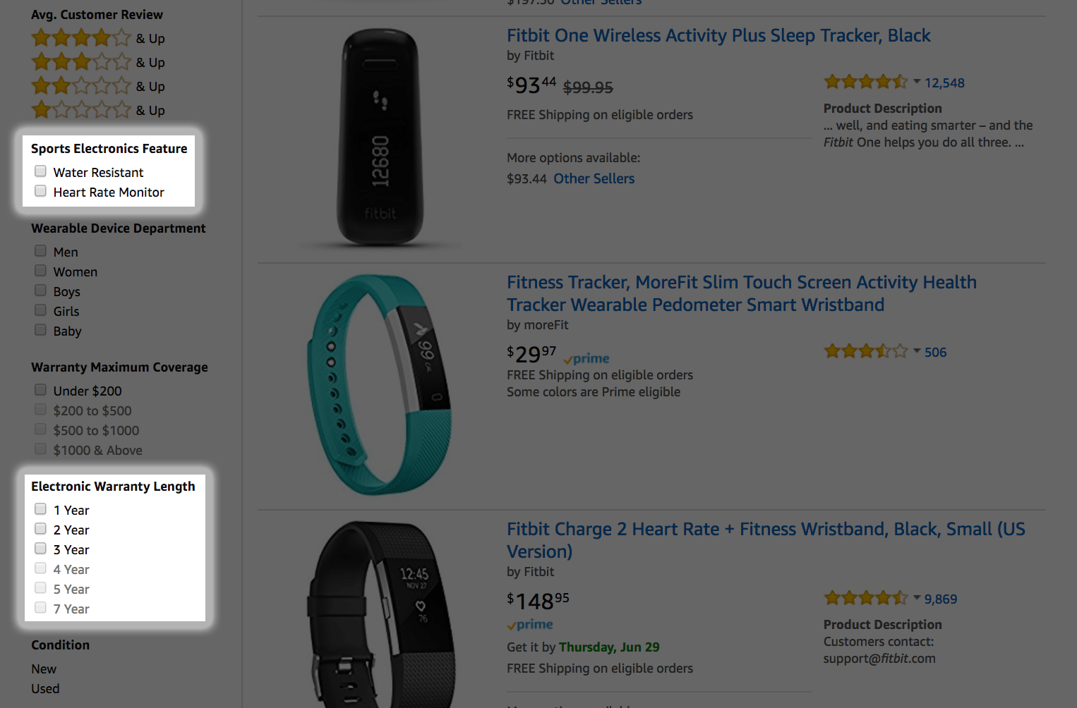 Amazon product filtering feature for Fitbit