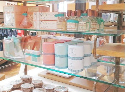 Artifact products on a shelf at Anthropologie