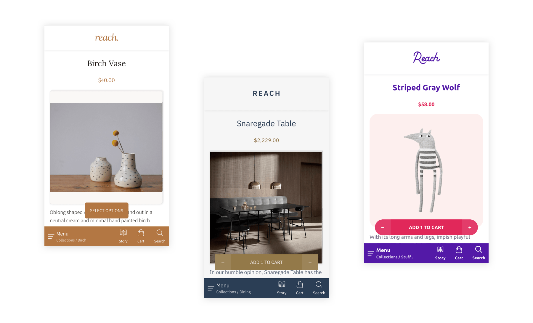 Reach Shopify theme mobile screenshots
