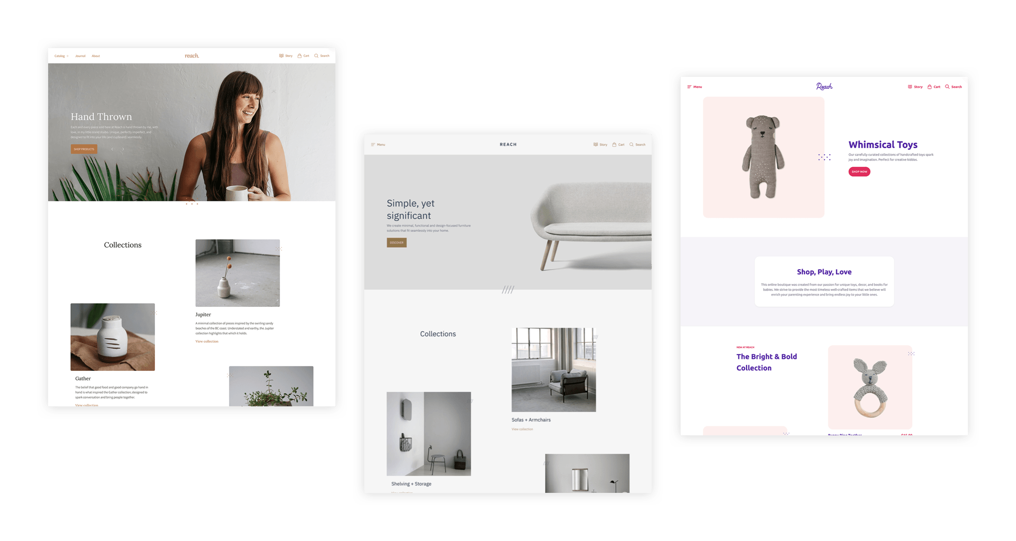 Reach Shopify theme presets screenshots