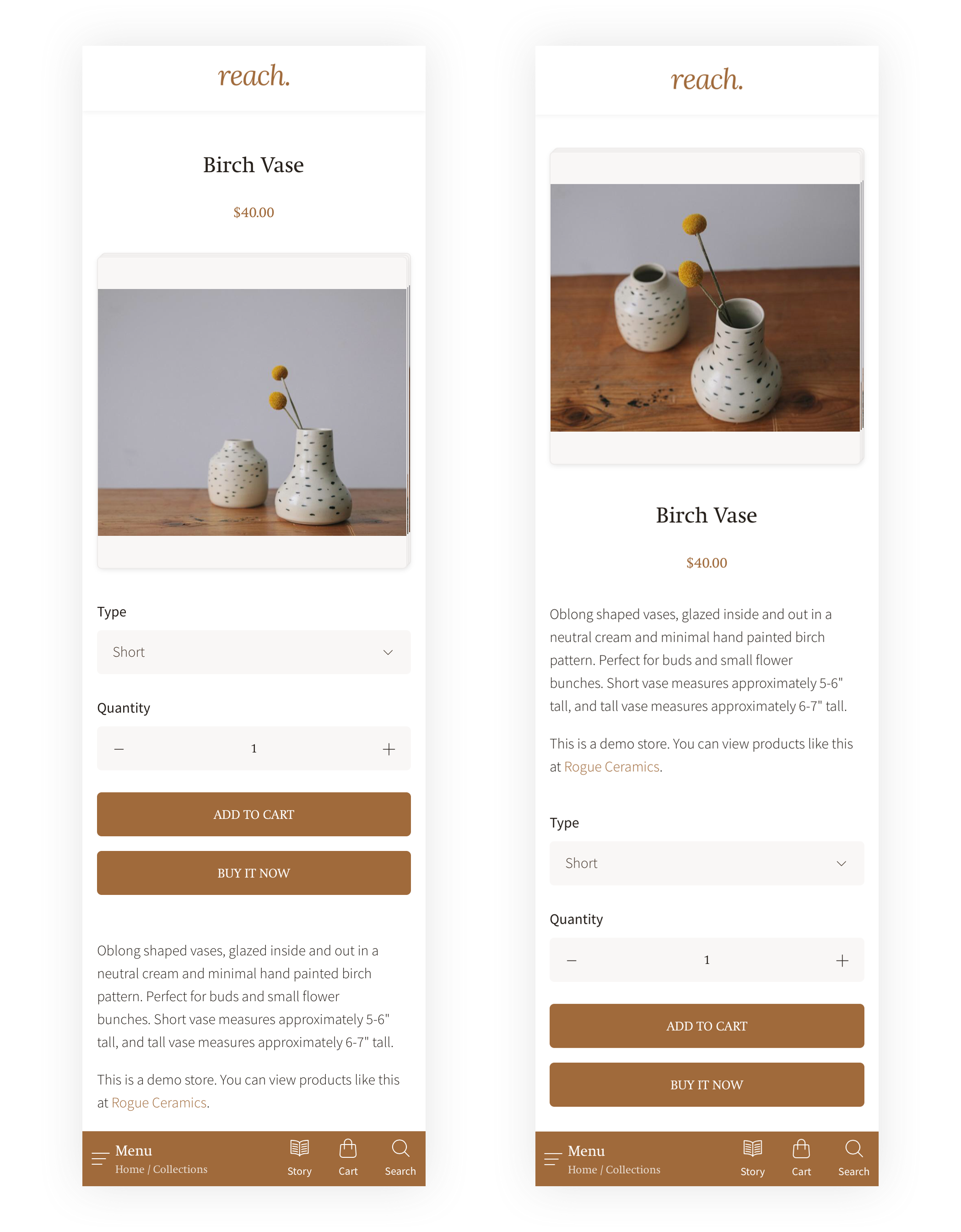 Two images of Reach's mobile product page layout options.