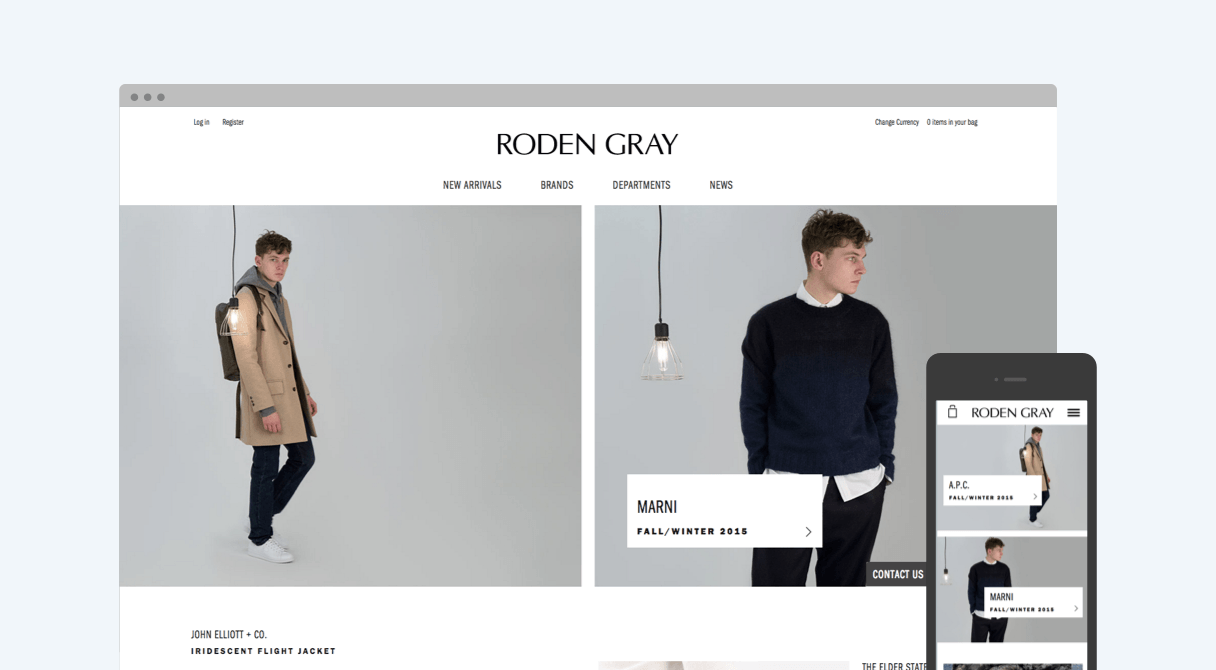 Roden Gray homepage on desktop and mobile