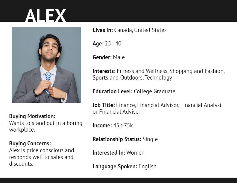 Buyer persona for a man named Alex