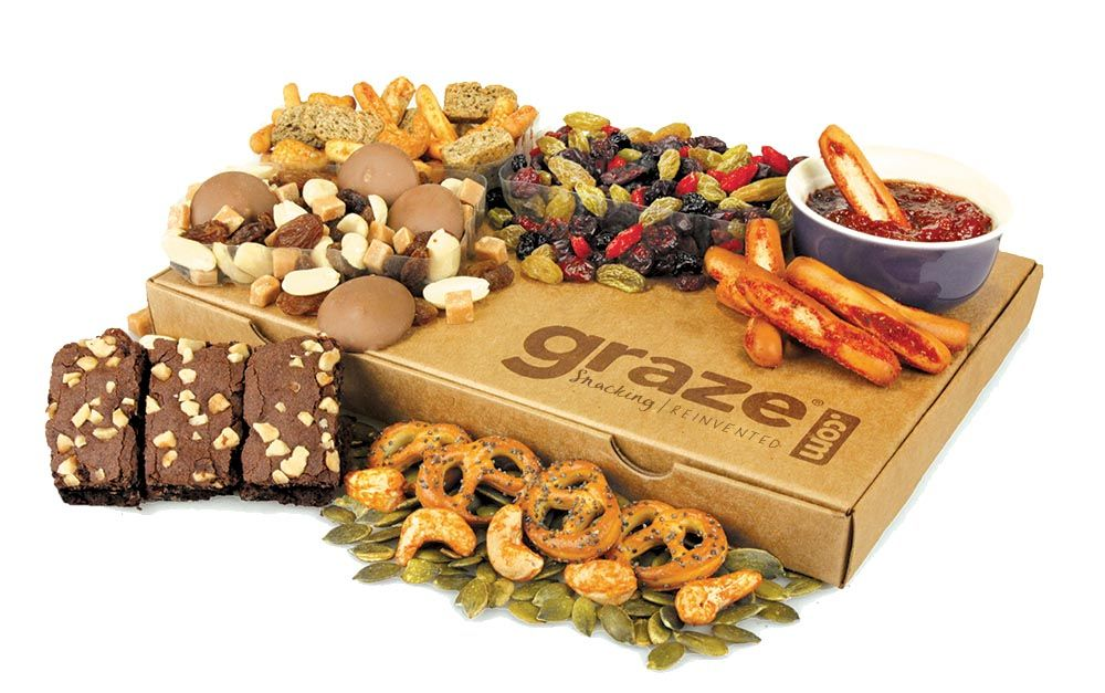 graze food subscription box featuring brownies, pretzels, nuts, and chocolate