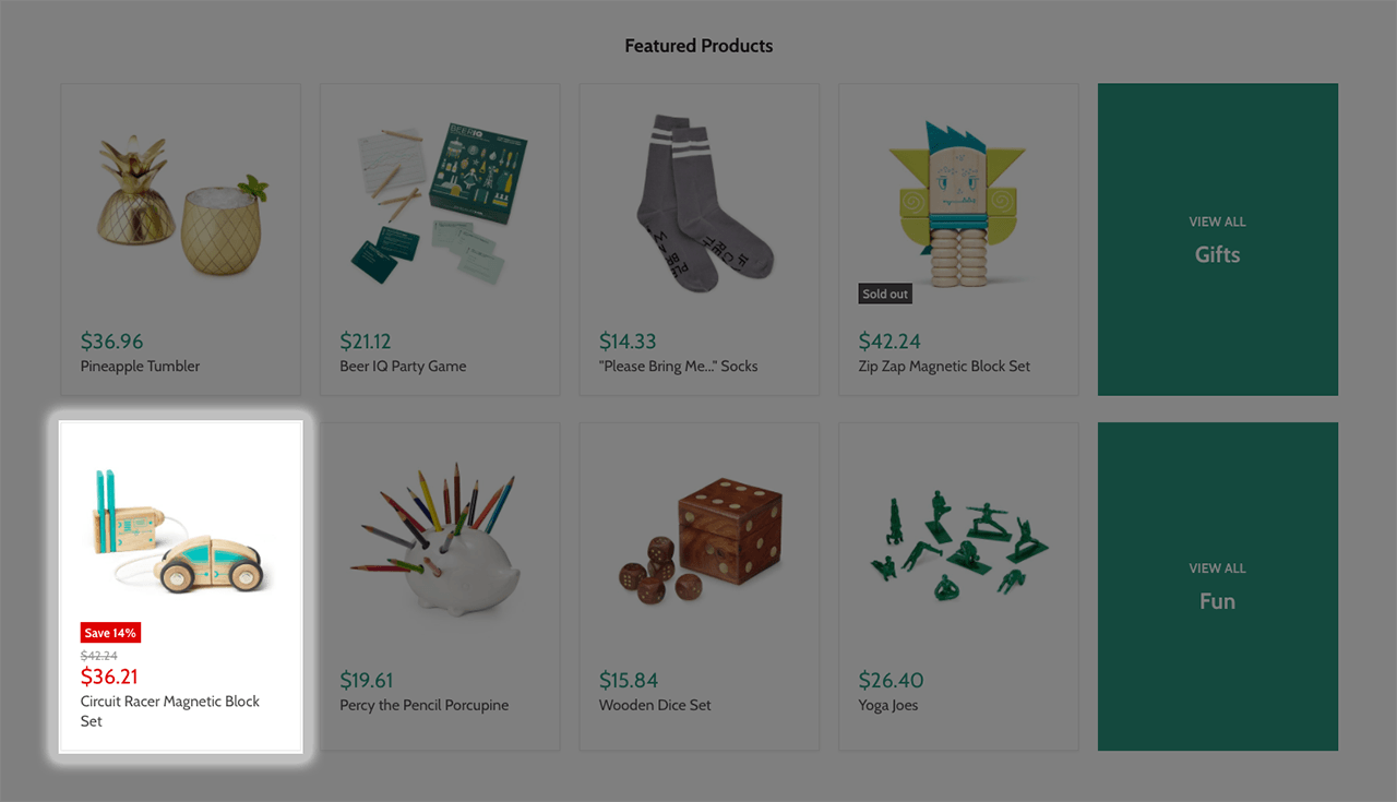 Highlighted discount feature on Empire Shopify theme