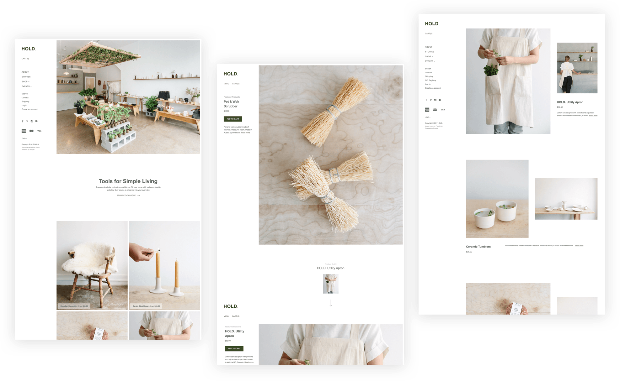 Hold webpages using Vogue Shopify theme