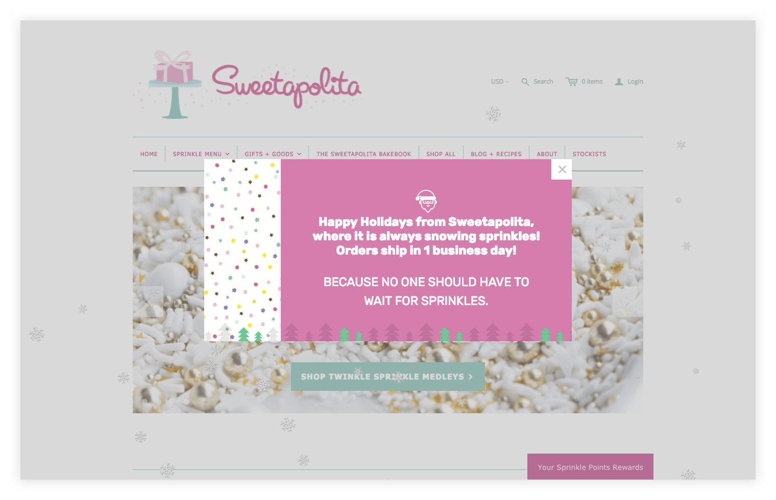 Sweetapolita homepage with shipping info popup