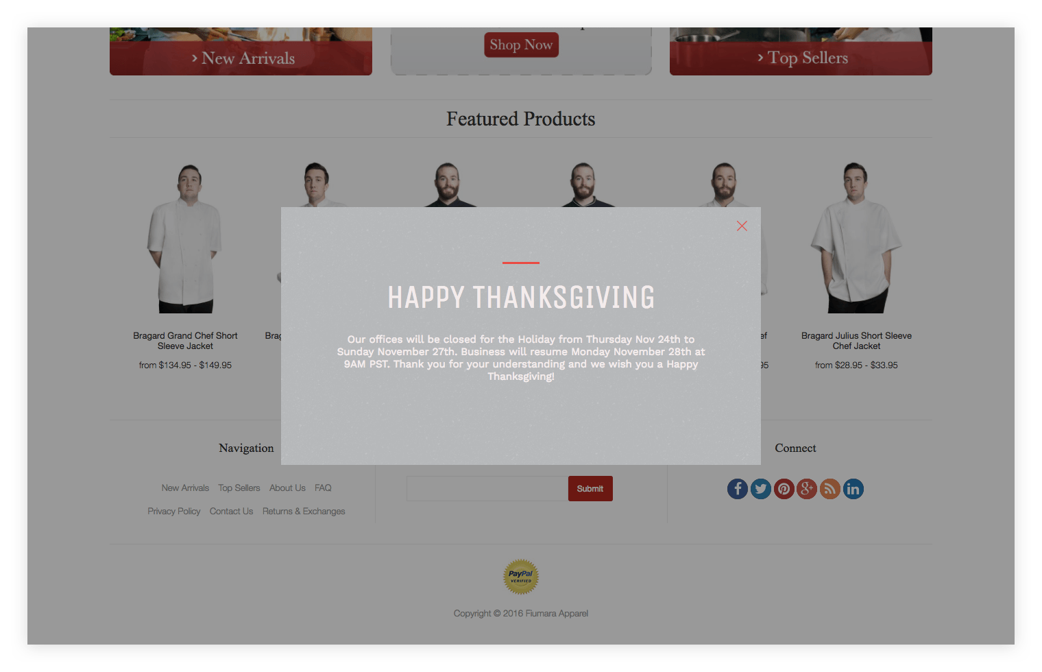Pixelpop happy thanksgiving popup