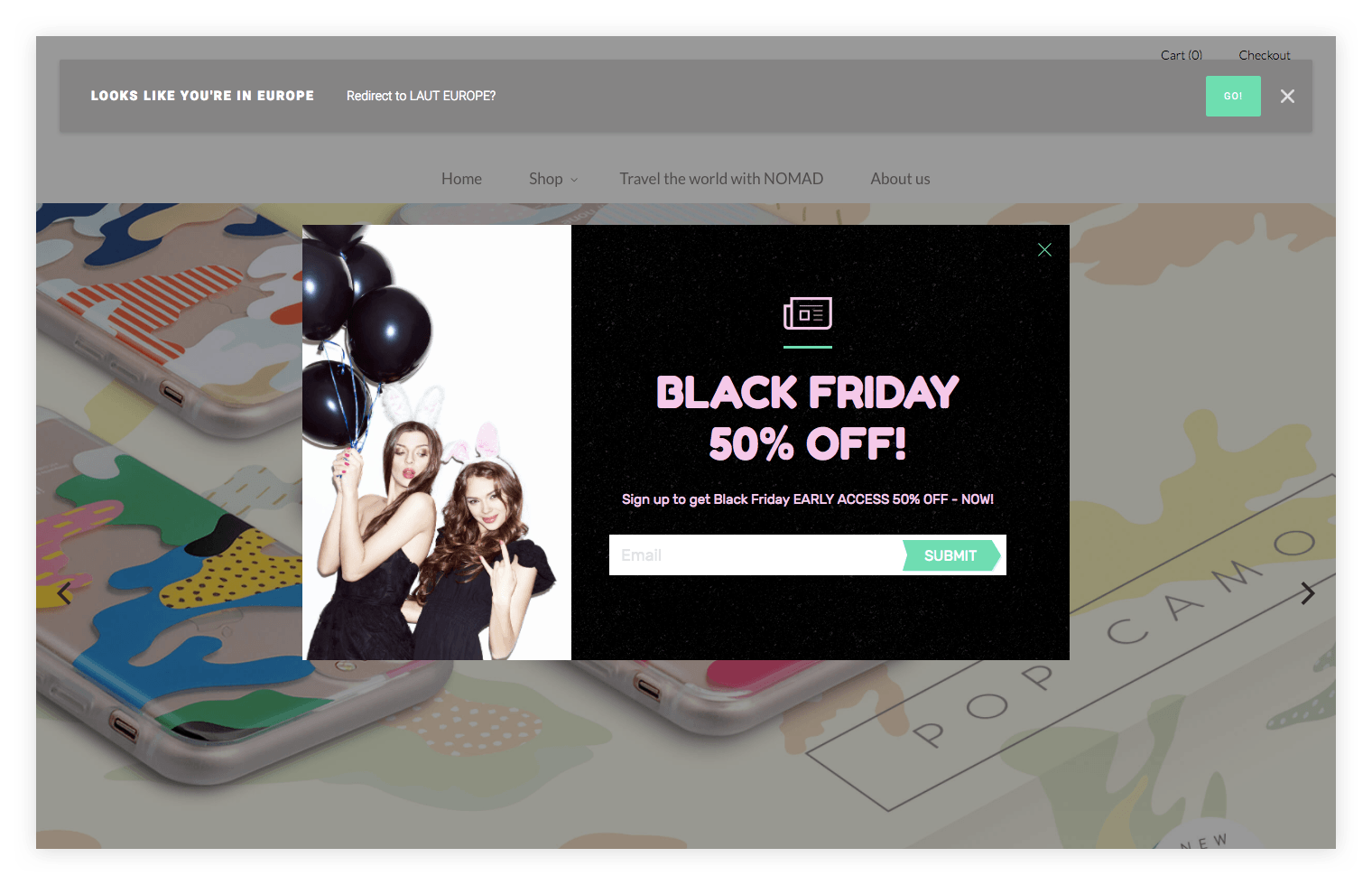 NOMAD pixelpop black friday discount popup