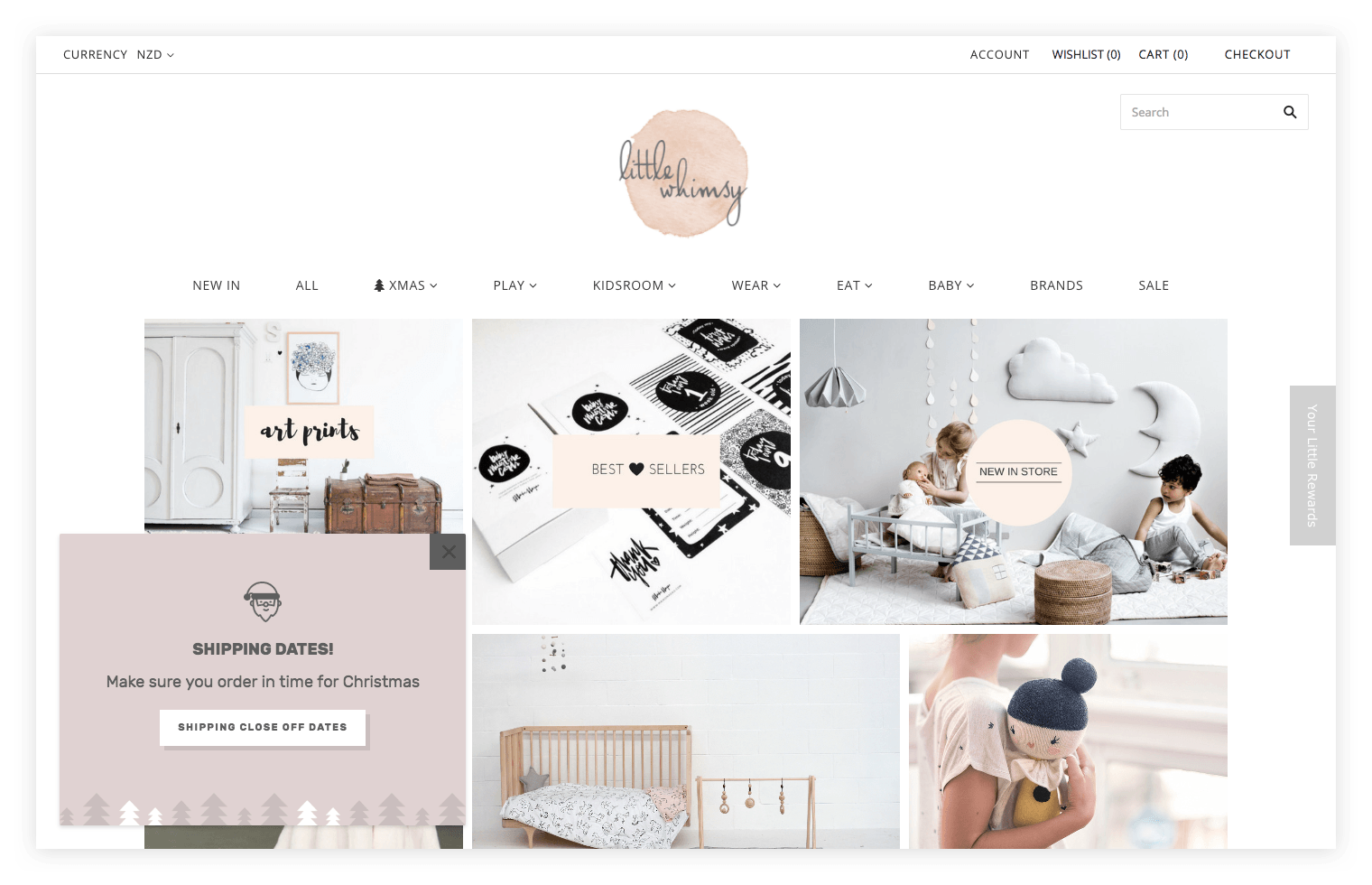 Little Whimsy homepage with shipping reminder popup