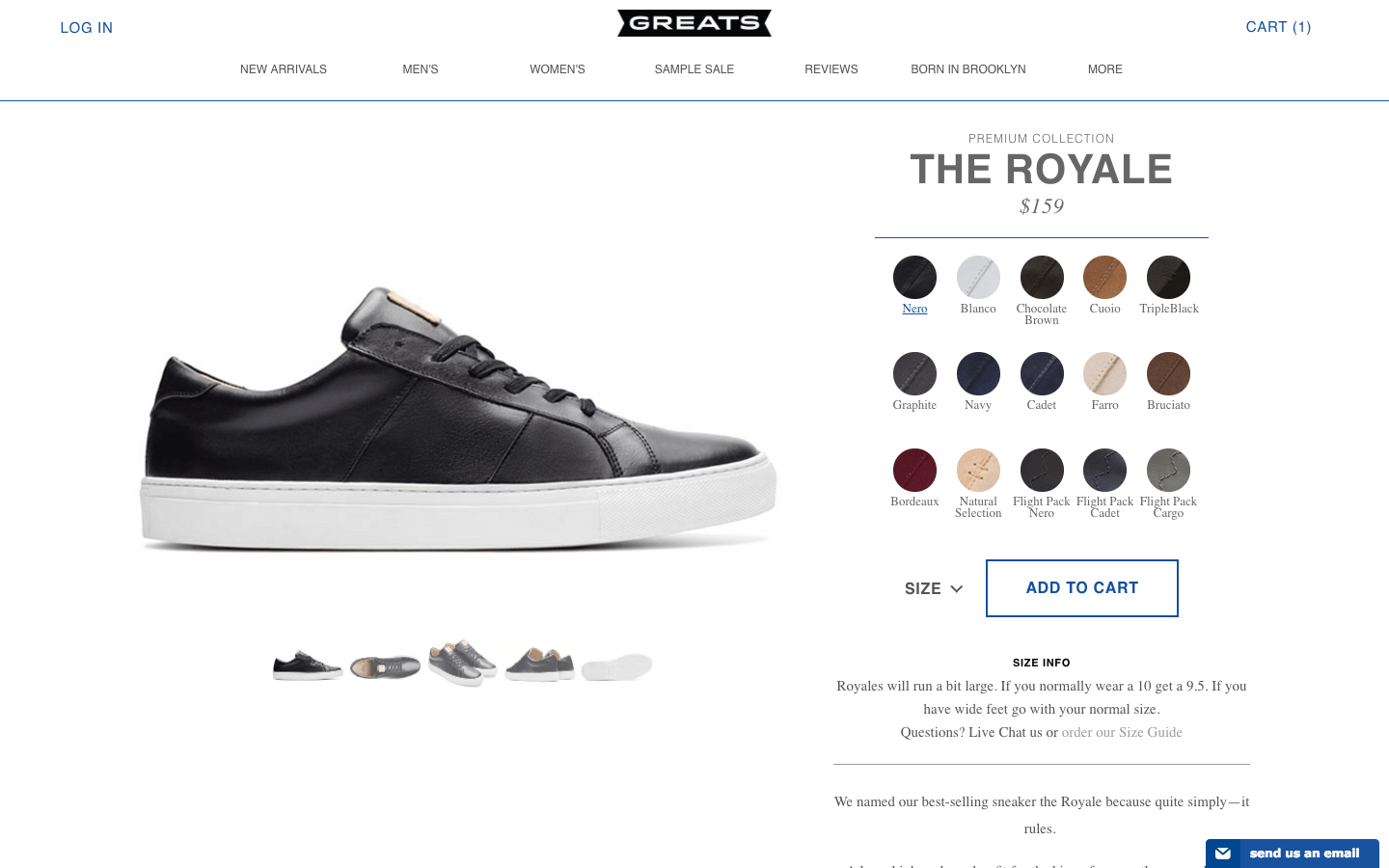 GREATS shoe product page
