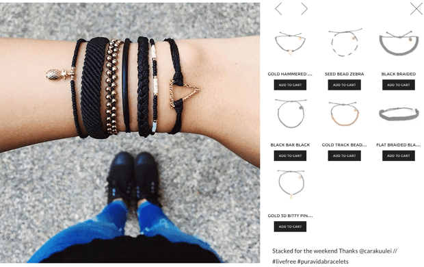 Instagram product image on the left with a collection page of bracelets on the right