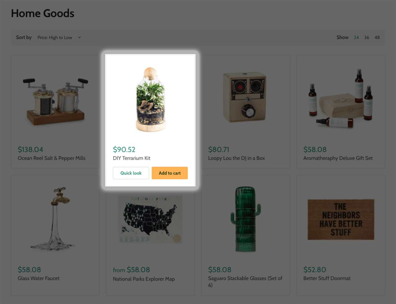 Empire Shopify theme easy add to cart button