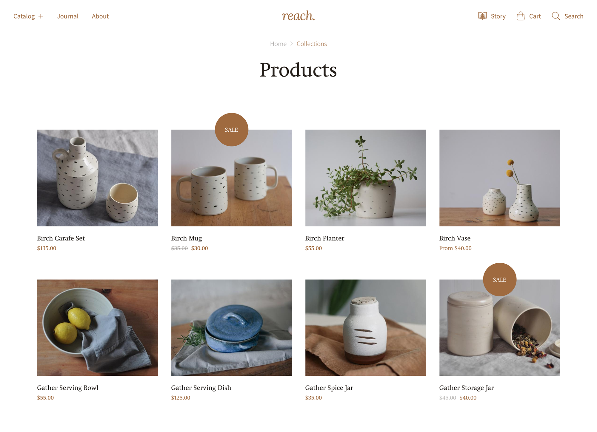 Reach Natural Shopify demo displaying product grid on collection page