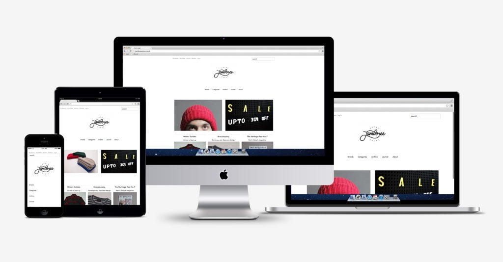 Online store homepage displayed on iPhone, iPad, iMac, and Macbook