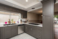 Dark Gray Inset Shaker Kitchen Cabinets