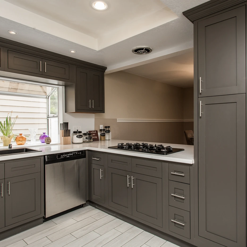 Dark Grey, Dark Gray Inset Skaker Kitchen Cabinets