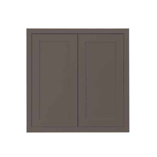 "30"" Tall Wall Cabinet 30"" Tall Dark Gray Inset Shaker Wall Cabinet - Double Door 24"", 27"", 30"", 33"" & 36"" Wide Inset Kitchen Cabinets"