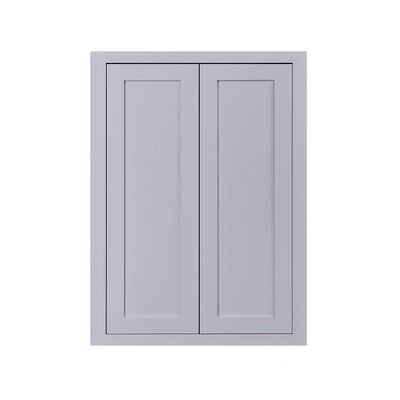 "30"" Tall Wall Cabinet 30"" Tall Light Gray Inset Shaker Wall Cabinet - Double Door - 24"", 27"", 30"", 33"" & 36"" D2W243014 Inset Kitchen Cabinets"
