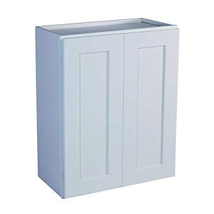 "30"" Tall Wall Cabinet 30"" Tall White Shaker Wall Cabinet - Double Door 24"", 27"", 30"", 33"", 36"" Inset Kitchen Cabinets"