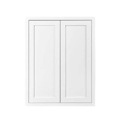 "39"" Tall Wall Cabinet 39"" Tall Snow White Inset Shaker Wall Cabinet - Double Door 24"", 27"", 30"", 33"" & 36"" Wide D1W243914 Inset Kitchen Cabinets"
