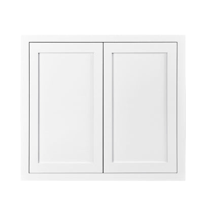 "39"" Tall Wall Cabinet 39"" Tall Snow White Inset Shaker Wall Cabinet - Double Door 24"", 27"", 30"", 33"" & 36"" Wide D1W333914 Inset Kitchen Cabinets"