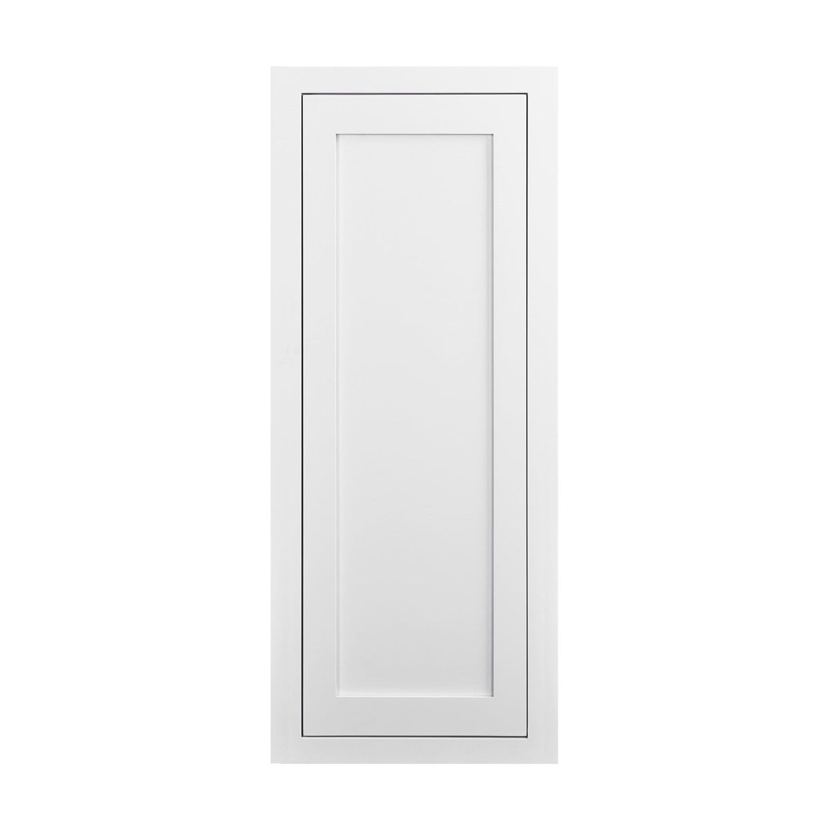 "39"" Tall Snow White Inset Shaker Wall Cabinet - Single Door 12"", 15"", 18"" & 21"" - White Shaker Kitchen Cabinets"