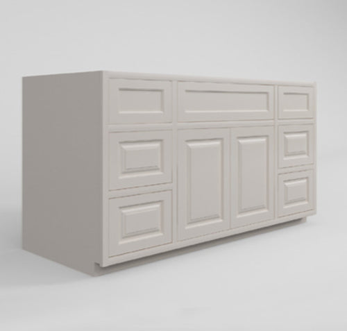 "Base Cabinet Bathroom Side Drawers Single Vanity Sink Base Vintage White Inset Raised Panel Cabinets - 48""& 60"" Wide 21"" Deep D5VSD4821 Inset Kitchen Cabinets"