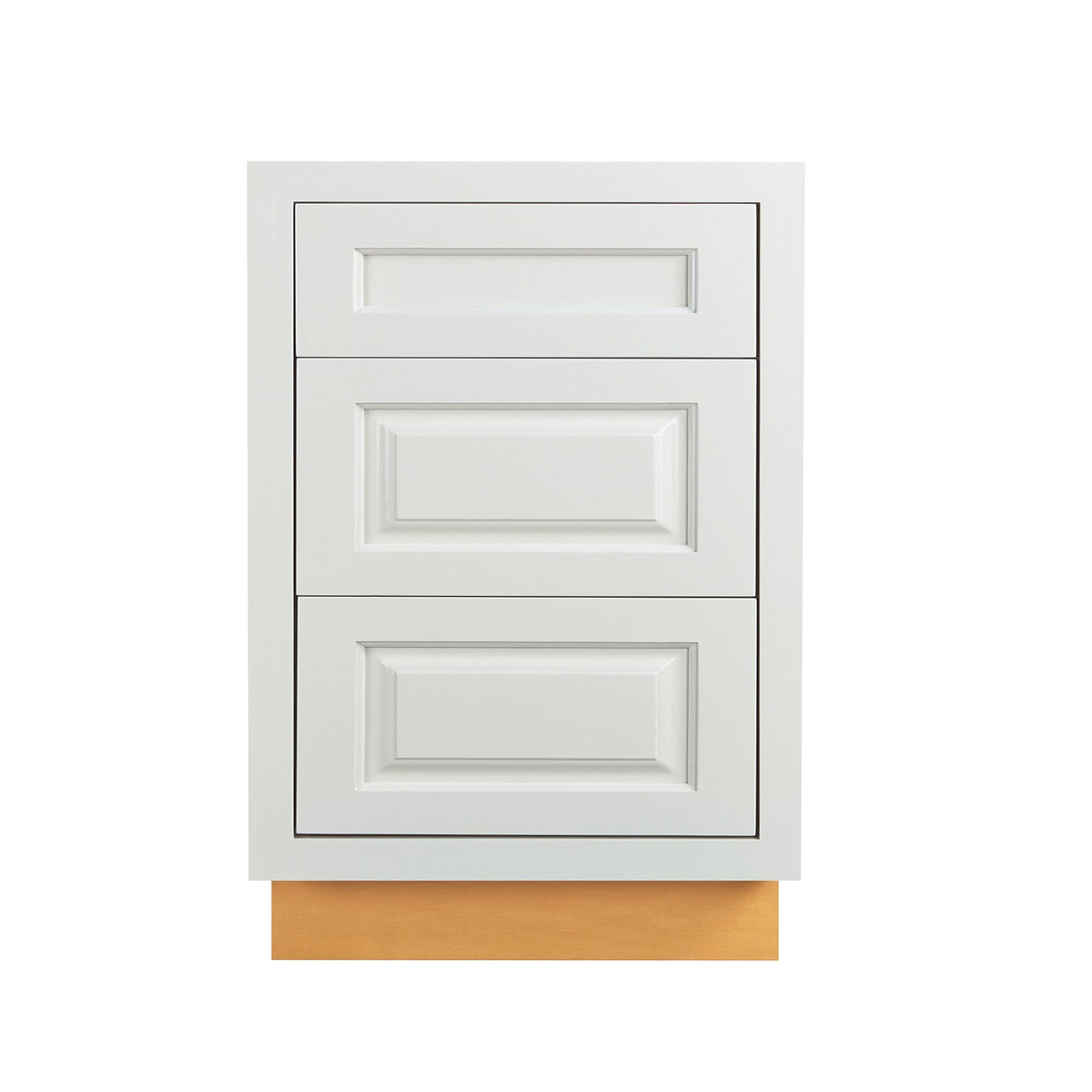"Base Cabinet Bathroom Vanity 3 Drawer Base Vintage White Inset Raised Panel Cabinets - 21"" Deep 12"", 15"" & 18"" Wide D5VDB1821FS Inset Kitchen Cabinets"