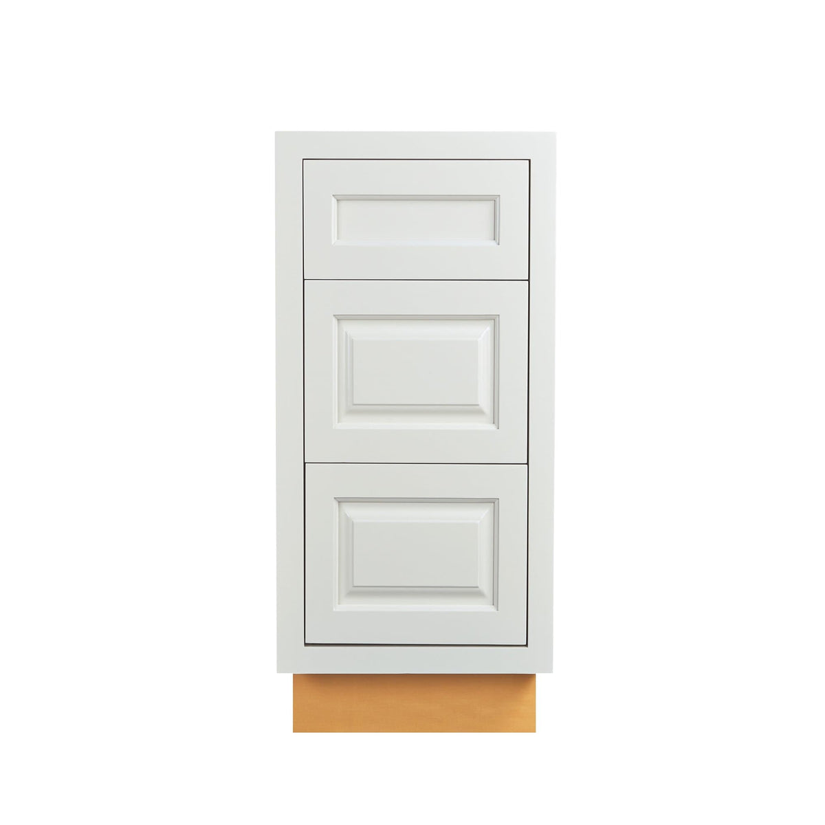 "Base Cabinet Bathroom Vanity 3 Drawer Base Vintage White Inset Raised Panel Cabinets - 21"" Deep 12"", 15"" & 18"" Wide D5VDB1521FS Inset Kitchen Cabinets"
