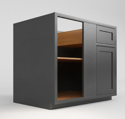 "Base Cabinet Blind Corner Base (Left or Right) Dark Gray Inset Shaker Blind - BBC 42"" Inch D3BBC42 Inset Kitchen Cabinets"