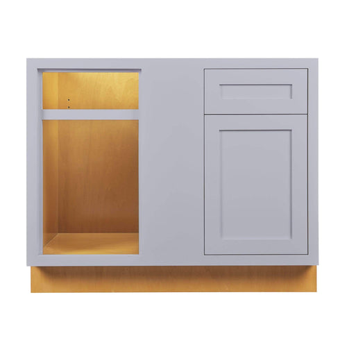 "Base Cabinet Blind Corner Base (Left or Right) Light Gray Inset Shaker Blind - BBC 36"" 42"" Inch Inset Kitchen Cabinets"