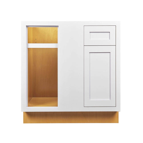 "Base Cabinet Blind Corner Base (Left or Right) Snow White Inset Shaker Blind 36"" 42"" Inch Inset Kitchen Cabinets"