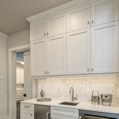 "Base Cabinet Blind Corner Base (Left or Right) White Shaker Blind 36"" & 42"" Inset Kitchen Cabinets"
