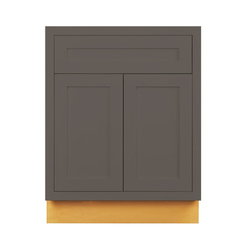 "Base Cabinet Dark Gray Inset Shaker Base Cabinet - Double Door 24""& 27"" Wide Inset Kitchen Cabinets"