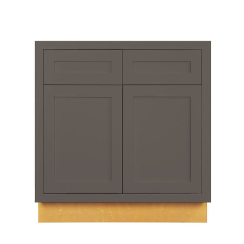 "Base Cabinet Dark Gray Inset Shaker Base Cabinet - Double Door 30"", 33"" & 36"" Wide Inset Kitchen Cabinets"