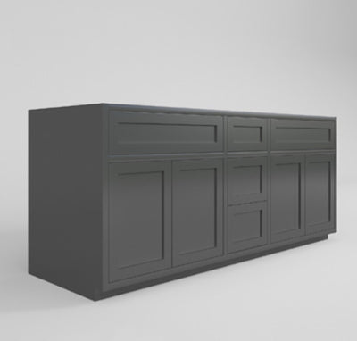 "Base Cabinet Double Vanity Sink Base Bathroom Dark Gray Inset Shaker Cabinets - 60"" Wide 21"" Deep DGSVCD6021 Inset Kitchen Cabinets"