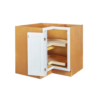 "Base Cabinet Lazy Susan Base Snow White Inset Shaker Cabinets 33"" & 36"" Inset Kitchen Cabinets"