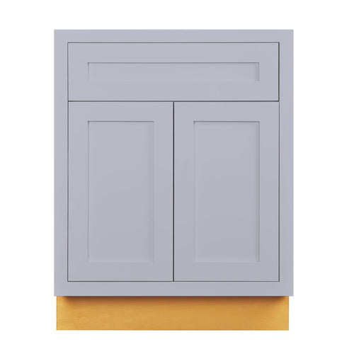 "Base Cabinet Light Gray Inset Shaker Base Cabinet - Double Door 24""-27"" Wide Inset Kitchen Cabinets"