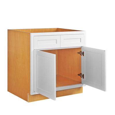 "Base Cabinet Sink Base Snow White Inset Shaker Cabinets 33"", 36"", 42"" Inset Kitchen Cabinets"