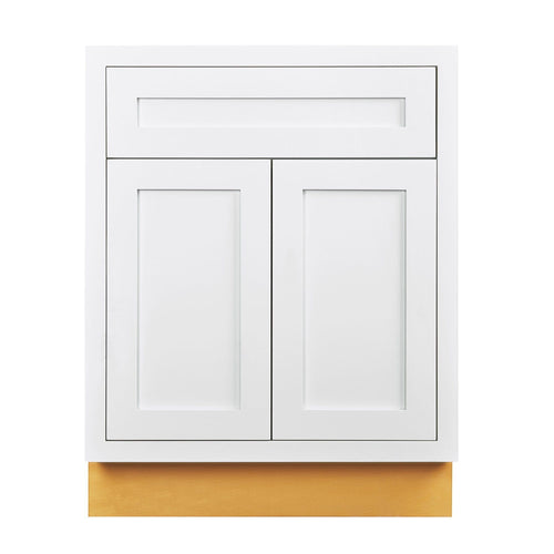 "Base Cabinet Snow White Inset Shaker Base Cabinet - Double Door 24""-27"" Wide Inset Kitchen Cabinets"
