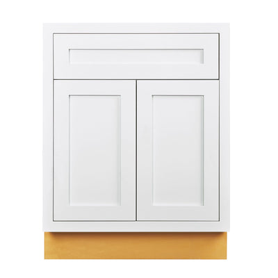 "Base Cabinet Snow White Inset Shaker Base Cabinet - Double Door 24""-27"" Wide D1B27 Inset Kitchen Cabinets"