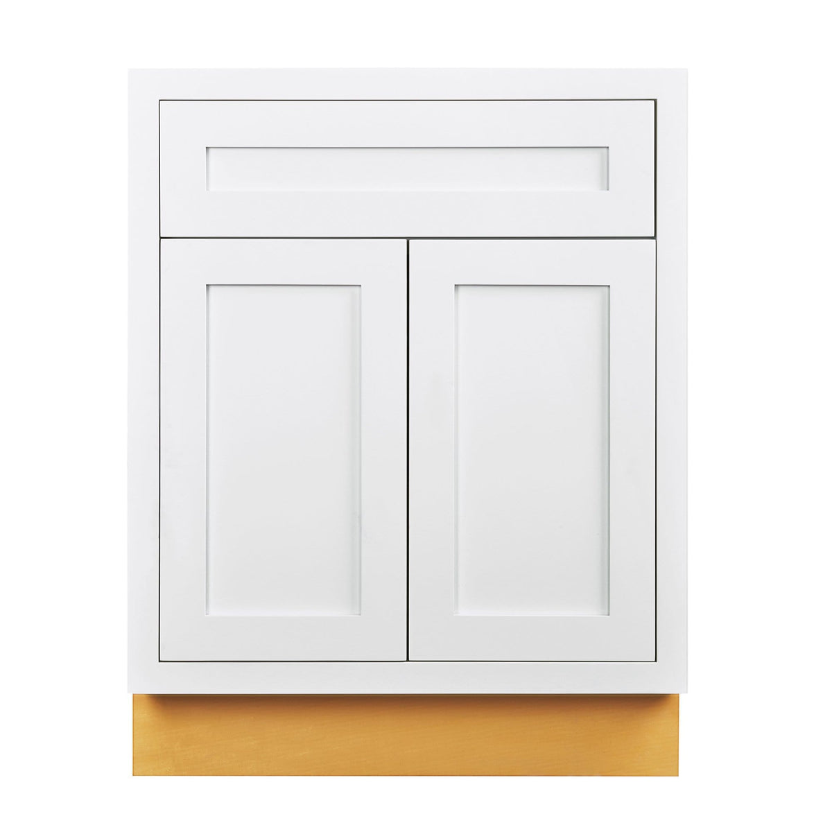 "Base Cabinet Snow White Inset Shaker Base Cabinet - Double Door 24""-27"" Wide D1B24 Inset Kitchen Cabinets"