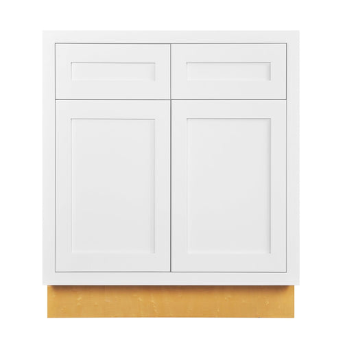 "Base Cabinet Snow White Inset Shaker Base Cabinet - Double Door 30"", 33"" & 36"" Wide D1B30 Inset Kitchen Cabinets"