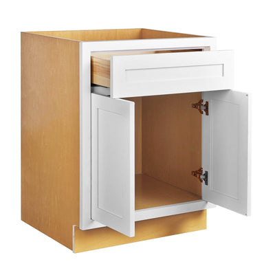 "Base Cabinet Snow White Inset Shaker Base Cabinet - Double Door 30"", 33"" & 36"" Wide Inset Kitchen Cabinets"