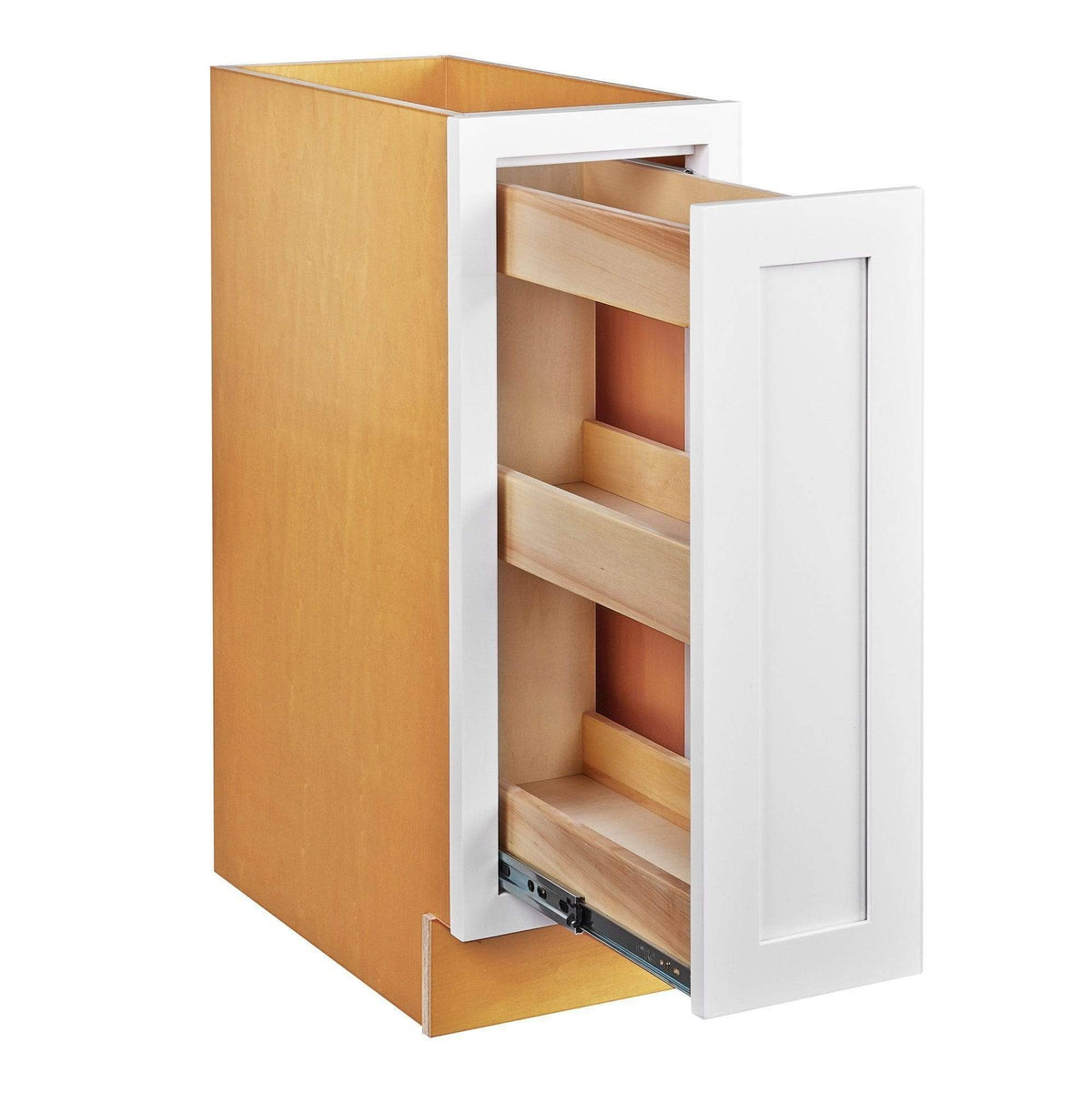 "Base Cabinet Snow White Inset Shaker Spice Rack Pull Out Base Cabinet 9"" & 12"" Inset Kitchen Cabinets"