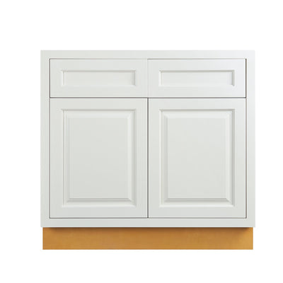"Base Cabinet Vintage White Inset Raised Panel Base Cabinet - Double Door 30"", 33"" &  36"" Wide D5B30 Inset Kitchen Cabinets"