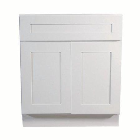 "Base Cabinet White Shaker Sink Base 30"", 33"", 36"", 42"" WSSB33 Inset Kitchen Cabinets"
