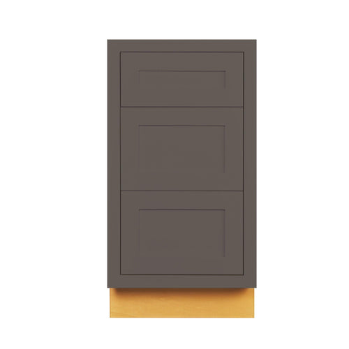"Drawer Base Cabinet Dark Gray Shaker Inset Drawer Base Cabinet - 12"", 15"", 18"", 21"", 24"" & 27"" Wide Inset Kitchen Cabinets"